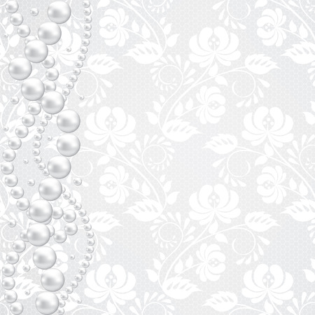 wedding accessories: Template for wedding, invitation or greeting card with lace fabric background