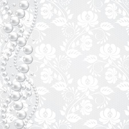 Vorlage für Hochzeit, Einladung oder Grusskarte mit Spitze Stoff Hintergrund