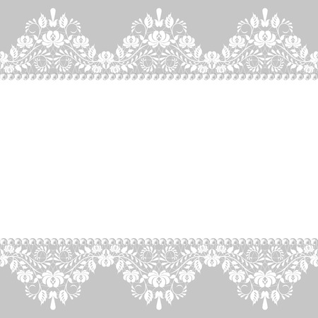 Pearl frame and lace border on gray background Vector