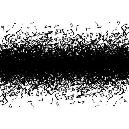 흑인 음악은 흰색 배경에 테두리 노트 일러스트