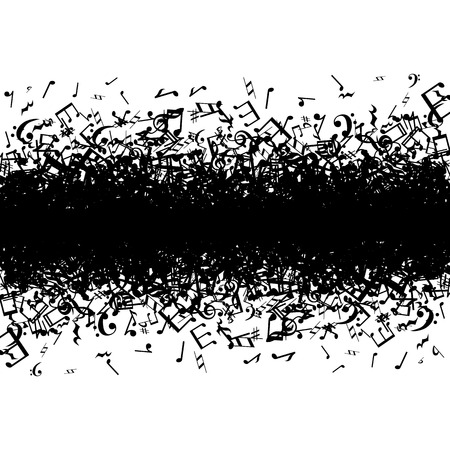 La musique noire note frontière sur fond blanc Banque d'images - 27327679