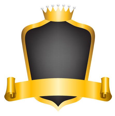 crown king: Vintage royal label with golden crown, shield and ribbon