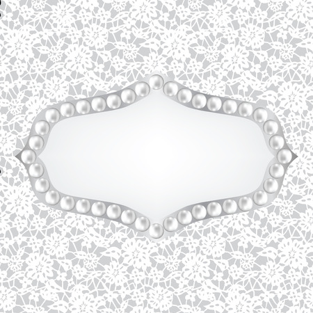 fashion jewelry: Template for wedding, invitation or greeting card with lace fabric background