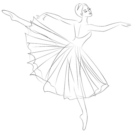 dress sketch: Outline sketch of dancing ballerina in beautiful dress