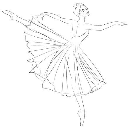 Outline sketch of dancing ballerina in beautiful dress