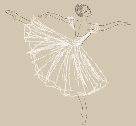 Dibujo A Lapiz De Bailarina En Vestido Blanco Ilustraciones