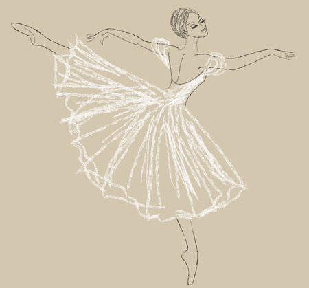 ballet studio: Pencil sketch with dancing ballerina in white dress Illustration