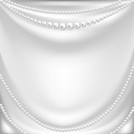 エレガントな背景に白い絹のカーテン、真珠のネックレス