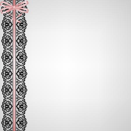 ruban noir: Invitation de mariage ou carte de voeux avec de la dentelle, ruban, arc et perles Illustration