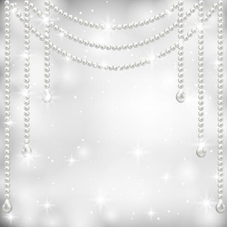 Grauer Hintergrund mit Perlenkette