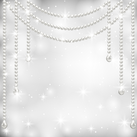 Gray background with pearl necklace   Vector