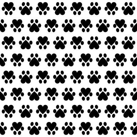 huellas de perro: Patrón sin fisuras con huellas de animales sobre fondo blanco Vectores