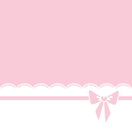 Pink background with bow and lace border