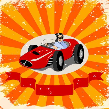 Racer in retro racing car