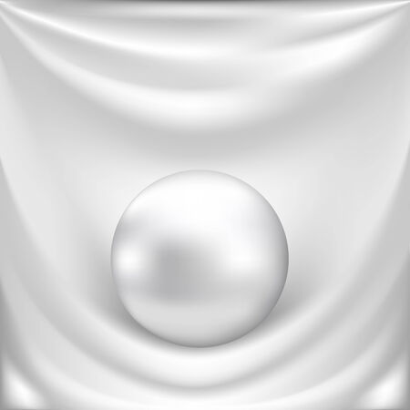 White silk fabric background with white pearl