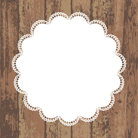 doilies: Wooden background with white napkin  Vector illustration