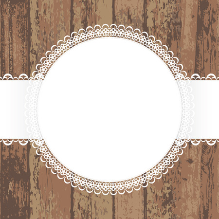 white napkin: Wooden background with white napkin