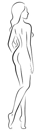 nude woman: Artictic outline sketch of naked beautiful young woman