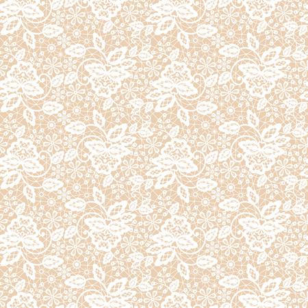ベージュの背景にシームレスな白いレース模様  イラスト・ベクター素材
