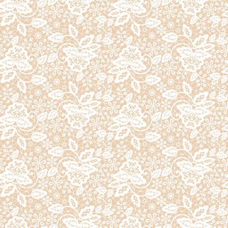 Seamless white lace pattern on beige background Ilustracja