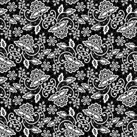 Seamless white lace pattern on black background Vector