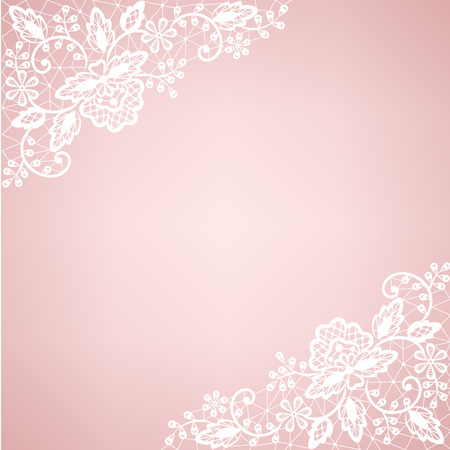 Invitation, wedding or greeting card with lace border Vector