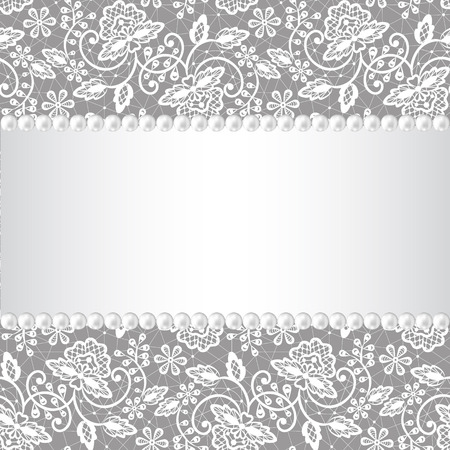 Wedding invitation or greeting card with pearl frame on lace background Vector