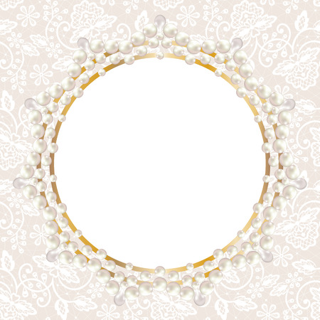 Wedding invitation or greeting card with pearl frame on white lace background Vector