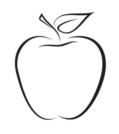 Artistic outline sketch of apple  Vector illustration