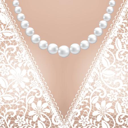 bridal dress: Decolette di abito da sposa in pizzo bianco con collana di perle