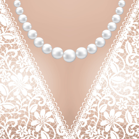 with pearl: Decolette of white lace bridal dress with pearl necklace Illustration