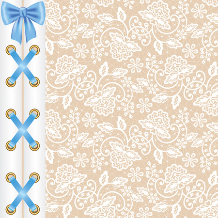 lacing: White lace background with corset lacing and bow