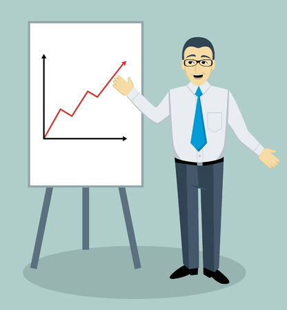 training courses: Teaching man with white board  Vector illustration  Illustration