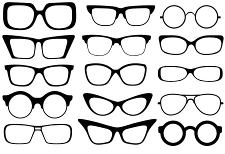Set of modern fashion glasses  Vector illustration  Vectores