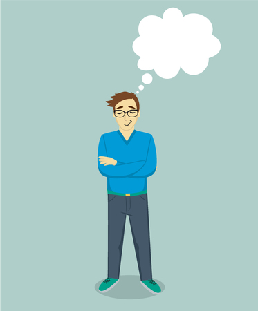 staying: Staying dreaming man with thought bubble  Vector illustration Illustration
