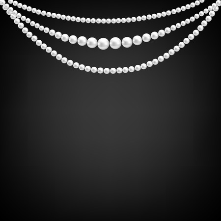 necklaces: Black background with pearl decoration  Illustration