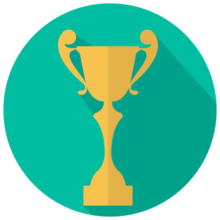 awarding: Flat icon of cup award on green background