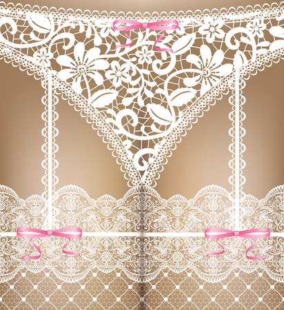 Sexual woman white lace lingerie  Vector illustration Vector