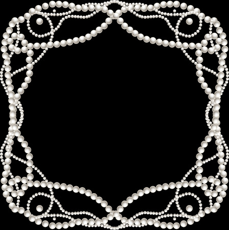 Black background with pearl necklace frame  Vector illustration Vectores