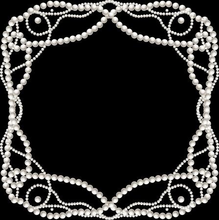 Schwarzer Hintergrund mit Perlenkette Rahmen Vektor-Illustration