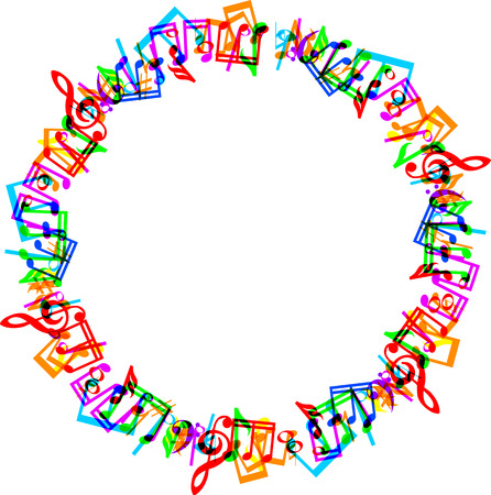 Colorful music notes border frame on white background