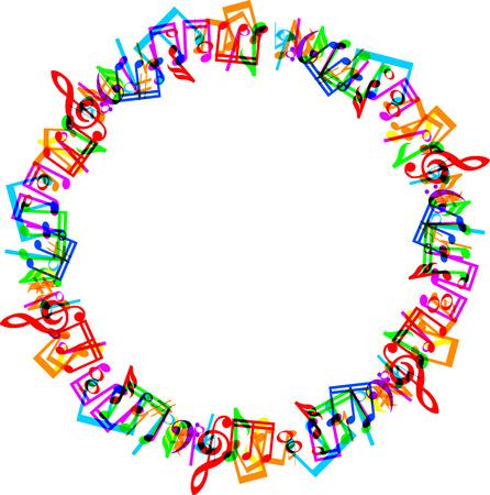 Kleurrijke muziek noten grens frame op een witte achtergrond