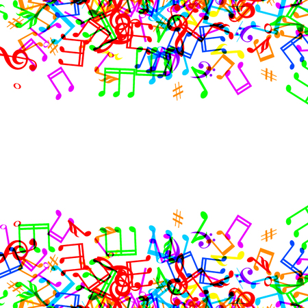 Colorful music notes border frame on white background Vector