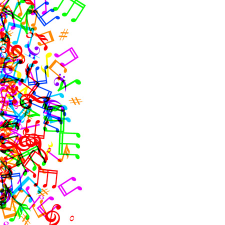 music stave: Colorful music notes border frame on white background