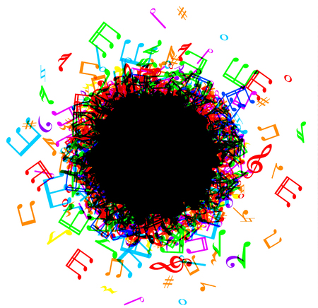 luminescence: Colorful music notes border frame on white background