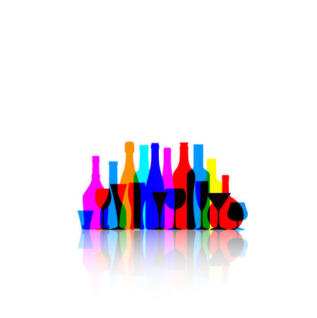 Fondo blanco con botellas de colores y gafas