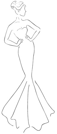 Artistic fashion sketch of young beautiful woman in long evening dress