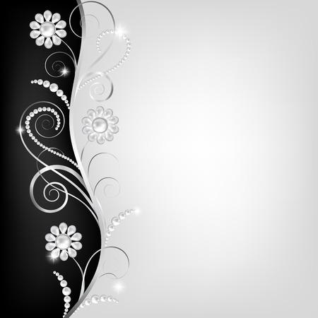 bodas de plata: Tarjeta con la joyería floral frontera decorativa con perlas