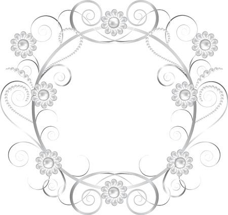 joyas de plata: Fondo negro con joyas de plata marco floral