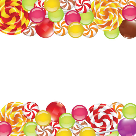 Borders with candies and lollipops on white background Vector